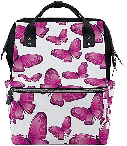 Mummy Backpack veel roze vlinders baby luiertas mummie rugzak onderhoudspdruk waterdichte moeder stijlvolle papa mummiezak wikkeltassen grote capaciteit Travel Muti-F