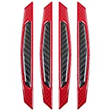 ZYTC 4pcs 3D Super Red Reflective Stickers Black Real Carbon Fiber Strips Car Side Door Edge Bumper Anti-Scratch Protection Guards Trim Stickers Universal