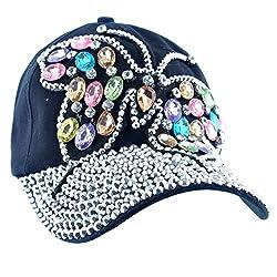 Butterfly Design Bling Womens Baseball Black Cap