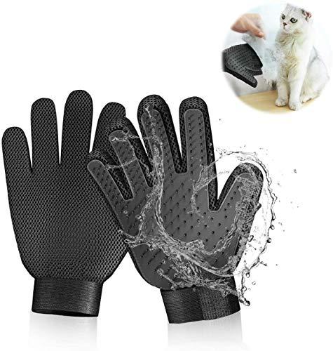 STARROAD-TIM Pet Grooming Glove Hair Remover Brush Gentle Deshedding Efficient Pet Mitt Pet Massage Gloves Left & Right Hand Draw Dogs Cats Horses Long Short Fur (1Pair Left & Right Hand)