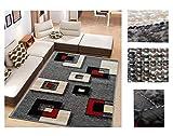 Alfombra de Salón Frise Pelo Largo Tupido Cuadrados Geometricos Modernos Color (Gris, 160_x_210 CM)
