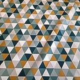 Stoff Meterware Baumwolle Dreieck natur petrol senf weiß