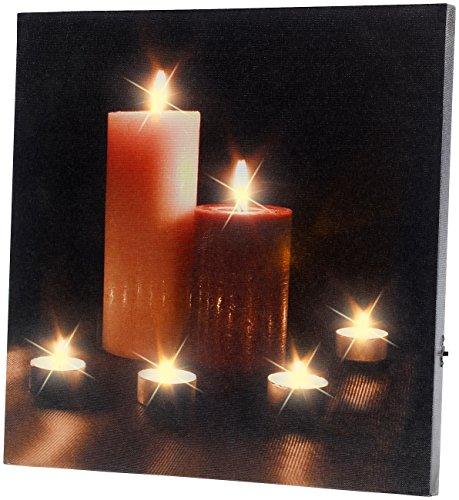 infactory LED Bilder: LED-Leinwandbild mit romantischem Kerzenflackern Modern Times (LED Bild Kerzen)