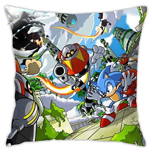 NiYoung Anime Character Sonic-The Hedgehog Square Throw Pillowcase Invisible Zipper, Home Decor Couch Cushion Cover, Bed Sofa Office Chair Car Seat Cushion Case - 18' X 18' Cushion Covers