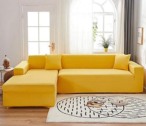 LKJHGF Housse de Canapé de Chaise Longue Extensible en Forme de L, Housse de Canapé Nordique de Couleur Unie 1/2/3/4 Places, pour Salon(Jaune,4 Places+3 Places)