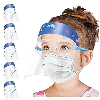 Simayixx 5PC Kids Face Masd Bandanas Anti-Saliva Sun Protection Cap Visor Glasses Cartoon Extra Large Splash Guard