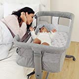 TCBunny 2-in-1 Baby Bassinet & Bedside Sleeper, Adjustable Portable Crib Bed for Infant/Newborn Baby, Grey
