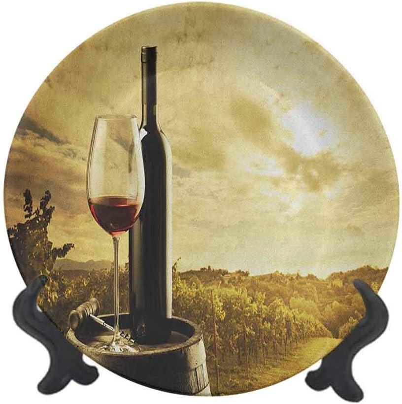 Plato decorativo de cerámica para vino, 20,32 cm, botella de vino tinto y copa en barril de madera, diseño de agricultura de cielo dramático para pasta, ensalada, fiesta, cocina, decoración del hogar