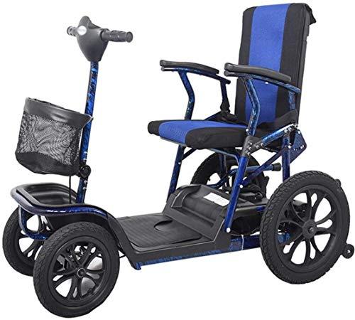 Fangfang Silla de Ruedas eléctrica Plegable, Scooter de Alta Resistencia, Ligero y Compacto, Plegable, de traslación eléctrico de Potencia 4 Ruedas y Scooter, Asiento Ajustable (Color : -, Size : -)