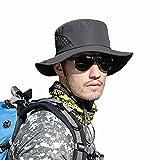 MaoXinTek Herren Sonnenhut Baumwolle Breiter Krempe UV Schutz Bucket Hut Unisex Faltbar Atmungsaktiv
