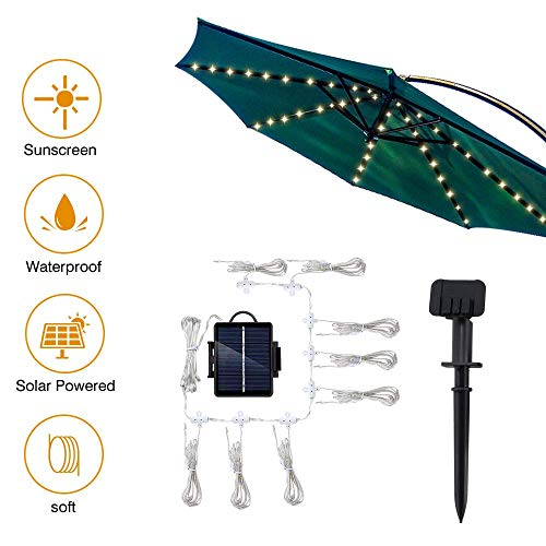 KAUTO Patio Umbrella Lights String Solar or Battery Powered Parasol String Lights 8 Light Modes Lights String Outdoor 104 LED Waterproof for Umbrella Outdoor Lighting Garden Backyard Camping Tents