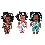 Semme Muñeca de simulación para bebé, 30 cm, de vinilo, impermeable, realista, suave, piel negra, para niños, educación temprana (mono floral verde)