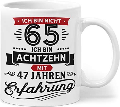Orange9 Geschenk Geburtstag 65 Tasse mit Spruch | Ich Bin Nicht 65 Ich Bin 18 mit 47 Jahren Erfahrung | Tasse 65 Geburtstag Geschenkideen (Zum 65. Geburtstag)