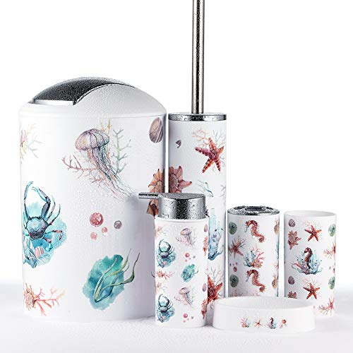 JOTOM Modern Design 6 Piece Plastic Bathroom Accessory Set Luxury Bath Accessories Bath Set Lotion Bottles,Toothbrush Holder,Tooth Mug,Soap Dish,Toilet Brush,Rubbish(Seahorse)