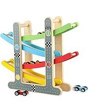 Jacootoys Houten Racebaan Auto Oprit Racer met 4 Mini-auto Peuter Speelgoed voor 1 2 Jarige Jongens en Meisjes Geschenken