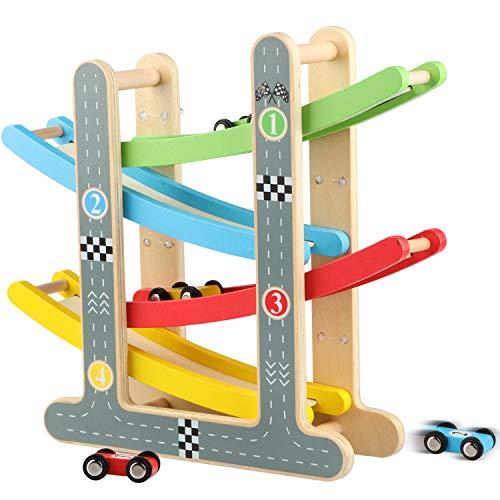 Jacootoys Rampa de Carrera para Niños de 1 a 2 Años, Juegos Circuito Coches Pista de Madera Juguetes Incluye 4 Autitos