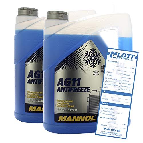 MANNOL 2X 5L (10L) Kühlerfrostschutz Kühlmittel AG11 blau bis -40°C Frostschutz
