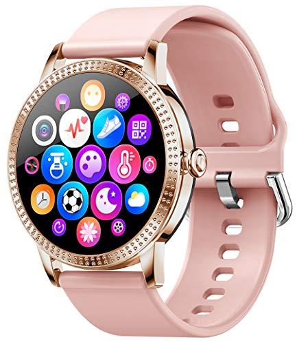 PHIPUDS Smartwatch, Reloj Inteligente IP68 con Pulsómetro, 9 Modos de Deporte, Presión Arterial, Monitor de Sueño, Notificaciones Inteligentes, Smartwatch Mujer para iOS y Android