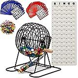 Complete Deluxe Bingo Game Set with Bingo Cage, Master Board, Bingo Balls, Bingo Cards (Black)