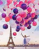 LRGSDML DIY Pintura al Óleo Kit Pintura por Números para Adultos con Pinceles y Pinturas para Niños Seniors Junior Paris Balloon Girl 16 * 20 Pulgadas Sin Marco