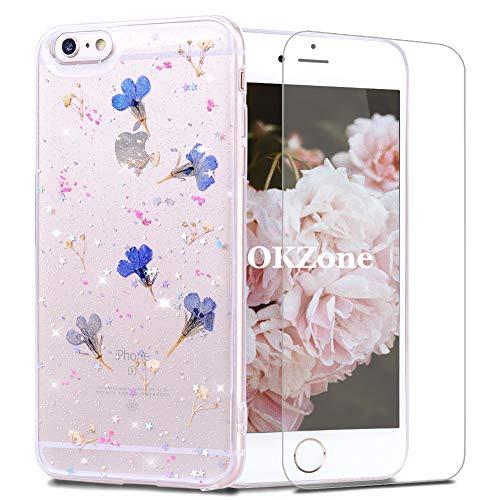 OKZone Kompatible mit iPhone 6S / 6 Plus (5,5 Zoll) Hülle[mitHD-Schutzfolie],[GetrockneteBlumen]BlumeGepresstHandyhülleKristallGelSchaleSchutzEchteBlumeBumperCaseCoverHülle (Blau)