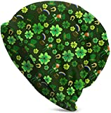 suizhoufa Bonnets St. Patrick's Day Four-Leaf Clover Green Leprechaun Casual Fashion Autumn and Winter Knit Hat Soft Warm Ski Caps Unisex Soft Cotton Warm Hooded Cap Outdoor Hat Daily Going Out Unise
