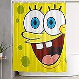 pingshang Lustiger Stoff Duschvorhang Sponge_bob Square_Pants Wasserdichtes Badezimmerdekor mit Haken 60 x 72 Zoll