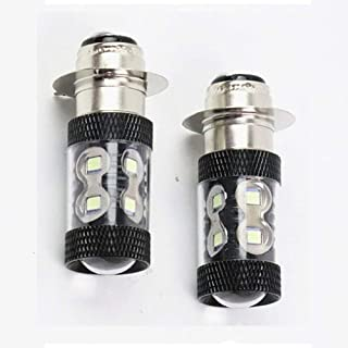 DSparts 2x H6m 100W LED Super White HeadLight Bulbs Fit For Honda TRX 250 300 400 450 700