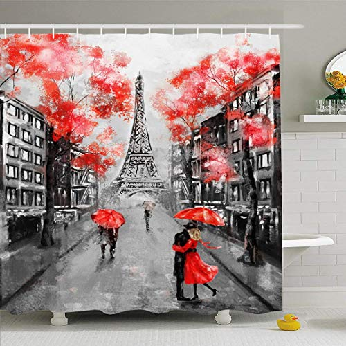 Hotyle Cortina de Ducha 150X180 Cm Pintura Francesa al óleo París Pastel Europeo Ciudad Calle Obra Paisaje Impresionante Torre Monumentos históricos
