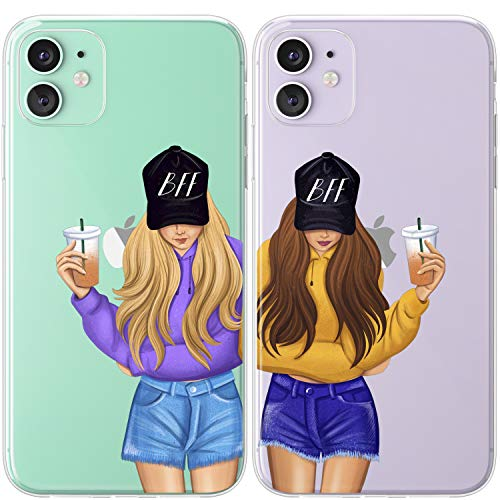 Mertak TPU Couple Cases Compatible with iPhone 12 Pro Max Mini 11 SE Xs Xr 8 Plus 7 6s Coffee Best Friends Matching Lightweight Girls Friendship Blonde Sisters Brunette Clear Teen BFFs