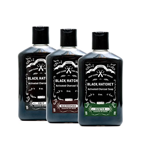 Charcoal Shower Gel Body Wash – Set of 3 All-Natural Bamboo Charcoal Moisturizing Soap for Men –Activated Charcoal Black Soap w/Mint and Tea Tree Essential Oils – Eczema, Psoriasis and Acne Treatment