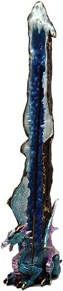 Metallic Blue Crystal Dragon Standing Incense Holder