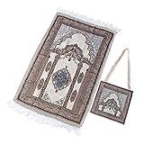 Clispeed - Tappetino da preghiera Musulman con borsa portaoggetti Islamica Janamaz Sajadah Namaz, tappetino da preghiera portatile per uso domestico