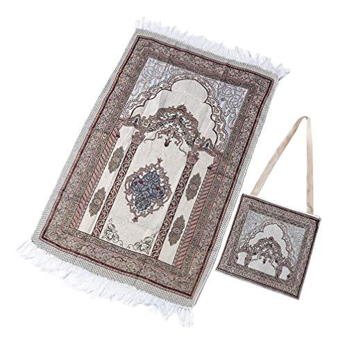 BESPORTBLE Islamischer Türkischer Gebetsteppich Plüsch Baumwolle Sajdah Muslim Namaz Sekade Gebetsmatte Teppich Blumen Moschee Teppich Teppich für Meditation Pilgerfahrt (Mit Tasche)