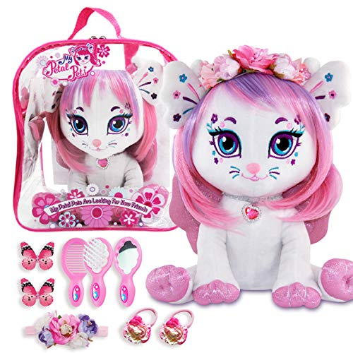 Fairy Plush Cat with Cute Backpack - Unicorn Hair Styling Set for Girls - My Petal Pets Stuffed Animal Backpack Set - Amazing Gift Ideas for Girls