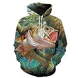 Sudadera con Capucha Unisex 3D Capucha Estampada Camisetas paraPrint Hoodie Anime Men and Women Couple, Big Mouth Fish_XXXXL