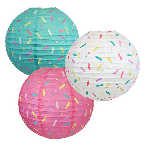 Just Artifacts 12inch Donut Party Hanging Paper Lanterns (3pc, Sprinkles)