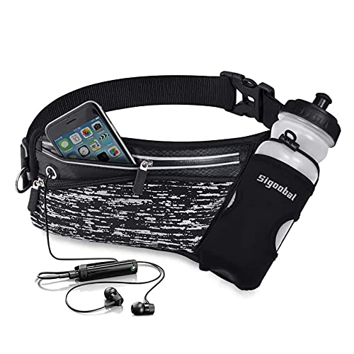 Running Belt Hydration Waist Pack with Water Bottle Holder Night Reflective Waist Pouch Fanny Bag for Men Women for Runners, Marathon, Fitness Training, Hiking and Jogging
