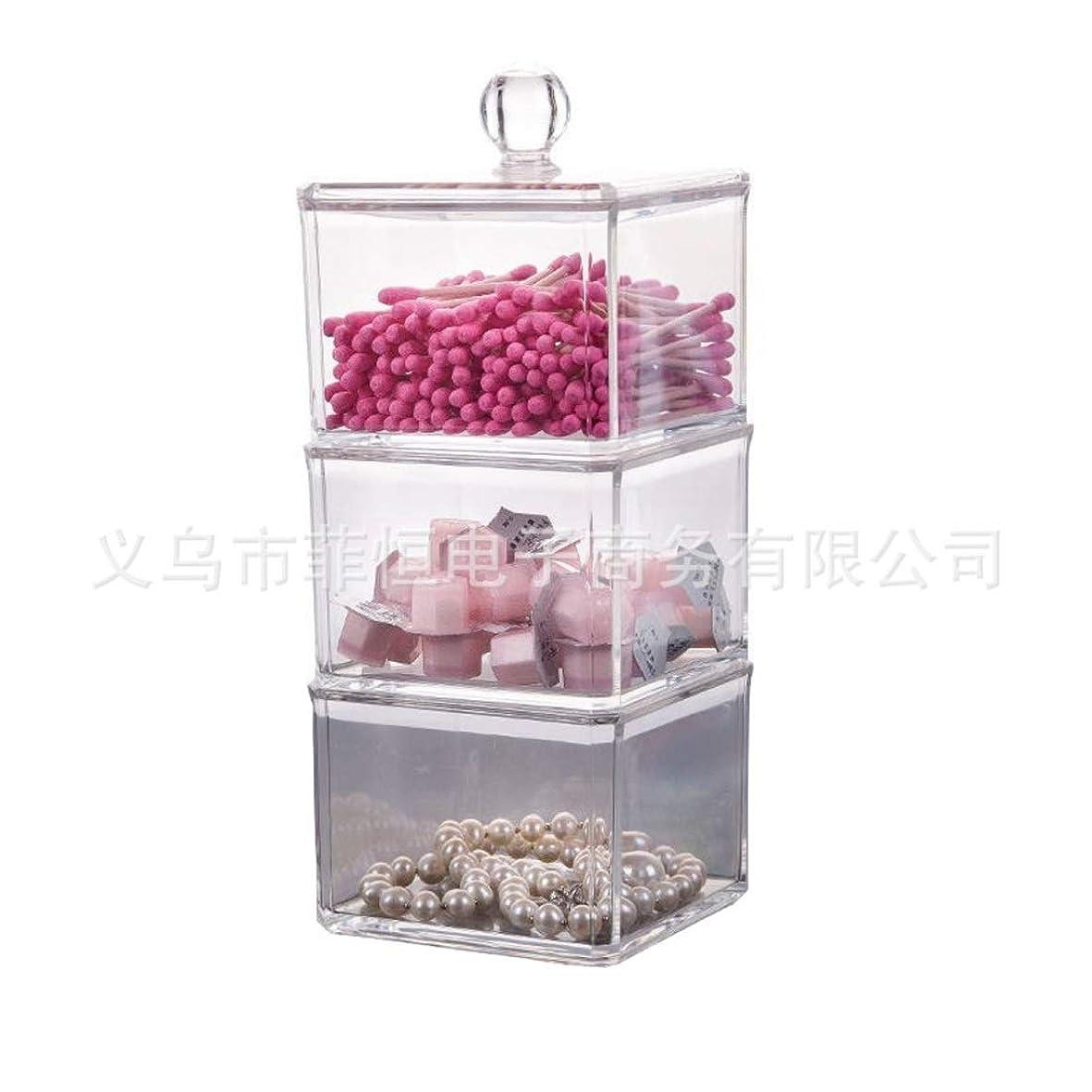 ロータリー仮装不当Tianmey 多層透明クリスタル綿棒箱化粧品綿箱小物収納ボックスデスクトップ化粧品コレクションボックス (Color : Clear)