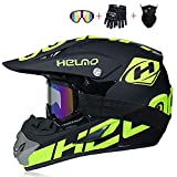 JCLDG Casco de Motocross para Motocross, Casco Descenso Hombre, Casco Motocross Enduro Quad MTB con Gafas/Máscara/Guantes, Casco Cross Quad Off Road ATV Scooter, Apto para Adultos y niños,XL