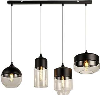 Europe Modern Loft Hanging 4 Lights Black Clear Color Glass Pendant Lamp Fixtures E27 LED Ceiling Lights Kitchen Restauran...