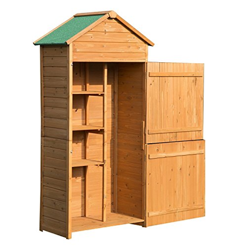 Outsunny 89 x 50cm 4-Tier Wooden Garden Storage Shed 3 Shelves Utility Gardener Cabinet Lockable Double Doors Tool Kit Storage - Wood Color