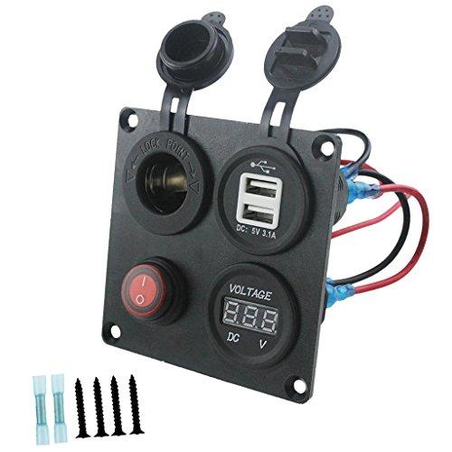 Toygogo Panel de 4 Orificios Cargador USB de Doble Puerto LED Rojo Voltímetro Medidor Interruptor de Botón 12V-24V Tomacorriente