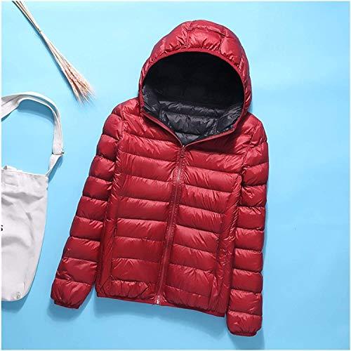 SDGDFGD Chaqueta Plumifero Abrigo abajo de las mujeres invierno caliente a prueba de viento a prueba de viento Parka chaqueta de vino tinto vino corto y delgado de la chaqueta con capucha de la chaque