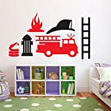 WHFDRHQT sticker mural Stickers Dessin animé camion de pompier moteur voiture vinyle autocollant mural autocollant enfants...