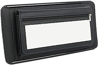 Yolu Leather Car Tissue Holder Sun Visor Organizer Pouch Bag Card Cash Sunglasses CD Storage with Mirror (Black)