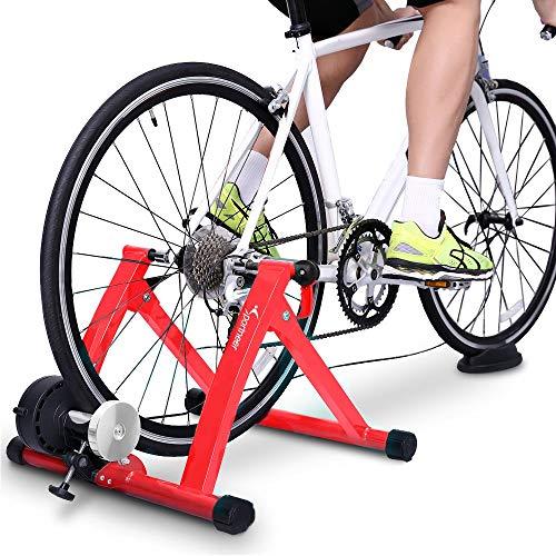 Sportneer Fahrrad Rollentrainer Stahl Fahrrad Übung Magnetischer Ständer mit Geräusch Reduktions Rad (Rot)