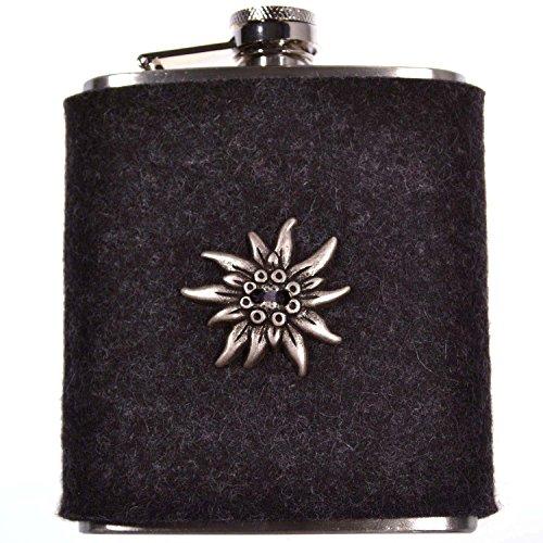 FLACHMANN aus Edelstahl | 7 OZ Hip Flask mit abnehmbarer Hülle aus Filz (Dunkelgrau) | zur Tracht mit Edelweiss | Outdoor Trinkflasche | Taschenflasche für Schnaps