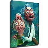 Ghychk Rick and Morty - Lienzo decorativo 3D para pared (61 x 91 cm), diseño de Rick and Morty