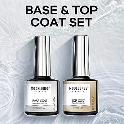 Modelones No Wipe Top and Base Coat Gel Polish Set - UV LED Soak Off New Upgraded Formula Gel Nail Polish 2X10ml Long-Lasting Mirror Shiny Glossy Finish